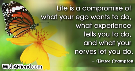 life-Life is a compromise of what your ego wants to do, what experience tells you to do, and what your nerves let you do.