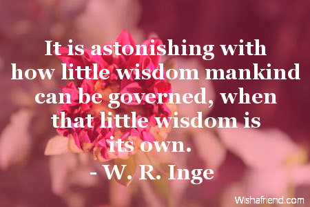 wisdom-It is astonishing with how little wisdom mankind can be governed, when that little wisdom is its own.
